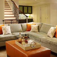 Artistic Designs for Living - basements - basement, velvet sectional sofa, velvet sections, gray velvet sectional, gray velvet sectional sofa, gray velvet sectional, orange ottoman, leather ottoman, orange leather ottoman,