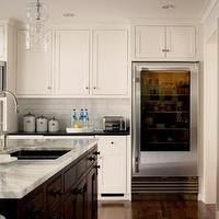 Caden Design Group - kitchens - white, ivory, kitchen, cabinets, espresso, kitchen, island, white carrara, marble, countertops, black, granite, countertops, subway, tiles, glass, pendant, lights, kitchen,