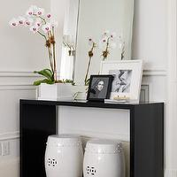 Ferreira Design - entrances/foyers - glossy, black, modern, console, table, beveled, mirror, , White Ceramic Garden Stools, Zebra Cowhide Rug, Mirrored Edged Mirror,