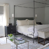 Alisberg Parker Architects - bedrooms - iron canopy bed, canopy bed with headboard, french coffee table, black nightstands, iron canopy bed, bedroom sofa, gray roman shade, French Mirrored Coffee Table,