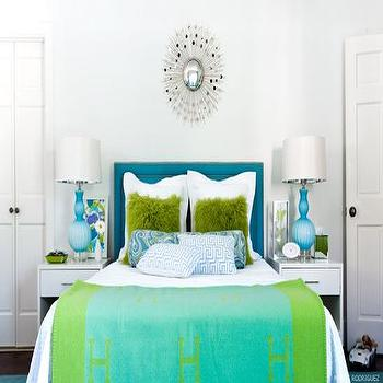 Martensen Jones Interiors - girl's rooms - girl's room, turquoise headboard, turquoise blue headboard, tween girls bedroom, tween girls room, hermes throw, hermes throw blanket, turquoise throw, turquoise lamps, turquoise blue lamps, turquoise glass lamps, greek key pillows, blue greek key pillows, turquoise bolster pillow, turquoise blue bolster pillow, shag pillows, green shag pillows, paisley pillow, paisley bolster pillow,