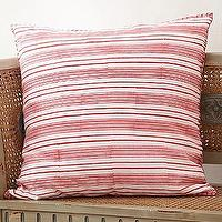 Pillows - John Robshaw Misregistered Vintage Stripe Pomegranate Pillow Cover - Garnet Hill - red, striped, pillow, pillows