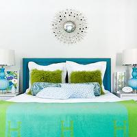 Martensen Jones Interiors - girl's rooms - silk, blue, headboard, nailhead trim, turquoise, blue, lamps, silver, mirrored, sunburst, mirror, white, modern, nightstands, green, furry, pillows, blue, paisley, bolster, pillow, blue, Greek key, pillows, blue, green, blanket, modern, girl's room, turquoise headboard, turquoise blue headboard,