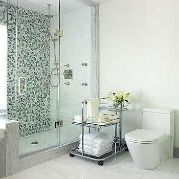 Sarah Richardson Design - bathrooms - bathroom cart, mosaic tile, mosaic tile backsplash, mosaic tiled bathroom, mosaic tile bathroom backsplash, mosaic tiled shower, mosaic shower surround,
