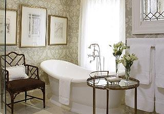 Sarah Richardson Design - bathrooms - vintage bathtub, bathroom wallpaper, master bathroom wallpaper, damask wallpaper, bathroom chair, brass accent table,