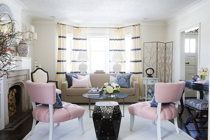 Pink Accent Chairs Contemporary Living Room Samantha