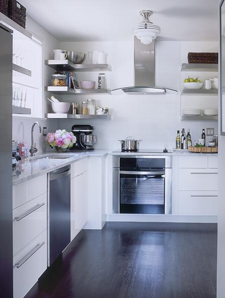 Samantha Pynn - kitchens - stainless steel shelves, stainless steel floating shelves, floating shelves, floating kitchen shelves, floating stainless steel shelves, floating stainless steel kitchen shelves, floating stainless steel shelves kitchen, ikea kitchen, pink accents, pink kitchen accents, no upper cabinets, kitchen with no upper cabinets,