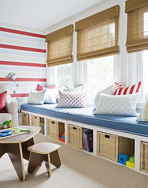 Samantha Pynn - boy's rooms - kids bench, kids storage bench, bamboo roman shades, plat table and chairs, modern play table and chairs, toy storage, bench with toy storage, striped boys room, striped playroom,