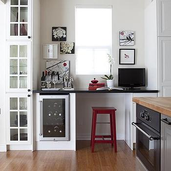 Samantha Pynn - kitchens - kitchen desk, desk in kitchen, kitchen office, office in kitchen, red bar stools, glass front wine fridge,  Virginia