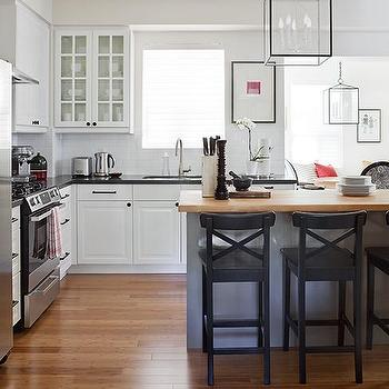 Samantha Pynn - kitchens - pottery barn barstools, pottery barn counter stools, x back bar stools, x back counter stools, black bar stools, black counter stools, black x back bar stools, two tone countertops, island lanterns, L shaped kitchen, Aaron Barstool,