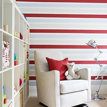 Samantha Pynn - nurseries - boy's nursery, play room, ikea expedit, expedit bookcase, ikea expedit bookcase, white ikea bookcase, white ikea expedit bookcase, nursery bookcase, nursery bookshelf, nursery bookcase ideas, striped walls, red and blue striped walls, velvet nursery glider,
