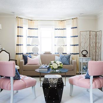 Samantha Pynn - living rooms - pink chairs, pink accent chairs, pink tufted chairs, bay window, living room bay window, camel sofa, camel couch, faceted accent table, striped curtains, striped drapes, horizontal striped curtains, horizontal striped drapes,