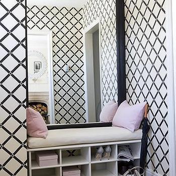 Lattice Wallpaper- Contemporary, entrance/foyer, Samantha Pynn