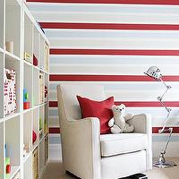 Samantha Pynn - nurseries - boy's nursery, play room, ikea expedit, expedit bookcase, ikea expedit bookcase, white ikea bookcase, white ikea expedit bookcase, nursery bookcase, nursery bookshelf, nursery bookcase ideas, striped walls, red and blue striped walls, velvet nursery glider, Ikea Expedit Bookcase,