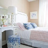 Samantha Pynn - girl's rooms - vanity as nightstand, vanity nightstand, white vanity, white make up vanity, bamboo vanity, white vanity, white headboard, studded headboard, pink bedding, pink and blue bedding, grasscloth, grasscloth wallpaper, pink and blue bedroom, Stevenson Nailhead Headboard,