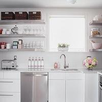 Samantha Pynn - kitchens - white, modern, IKEA, kitchen, cabinets, white, carrara, marble, countertops, stainless steel, floating, shelf, shelves, appliances, white, subway, tiles, pendant, baskets, vintage, toaster, glassware, mixing bowls, window, espresso, wood, floors, stainless steel shelves, stainless steel floating shelves, floating shelves, floating kitchen shelves, floating stainless steel shelves, floating stainless steel kitchen shelves, floating stainless steel shelves kitchen,