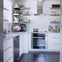 Samantha Pynn - kitchens - white, kitchen, cabinets, subway, tiles, backsplash, white, carrara, marble, countertops, stainless steel, floating, shelves, shelf, kitchen-aid mixer, stainless steel, appliances, cutting board, polished chrome, hardware, window, espresso, wood, floors, stainless steel shelves, stainless steel floating shelves, floating shelves, floating kitchen shelves, floating stainless steel shelves, floating stainless steel kitchen shelves, floating stainless steel shelves kitchen,