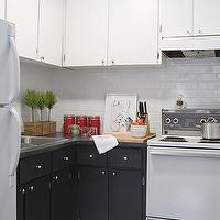 Samantha Pynn - kitchens - white, upper, kitchen, cabinets, black, lower, kitchen, cabinets, white, subway, tiles, backsplash, butcher block, white, appliances, rug, topiaries, knife block, canisters, black and white kitchen,