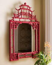Mirrors - The Horchow Collection - Decor & Antiques - Mirrors - Mirrors - red, pagoda, mirror