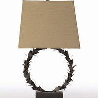 Lighting - Laurel Wreath Metal Resin Table Lamp Barbara Cosgrove Lamps Lighting Designer Light Fixtures Table Lamp Black White Silk - $295