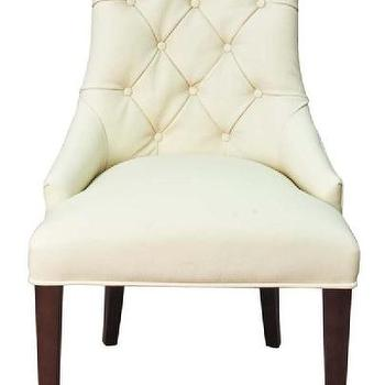 Seating - Michelle Dining Side Chair in Vanilla Leather - leather, tufted, chair