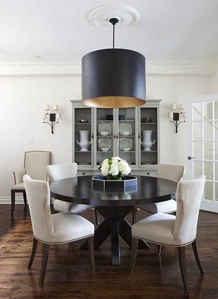Round Espresso Dining Table Contemporary Room