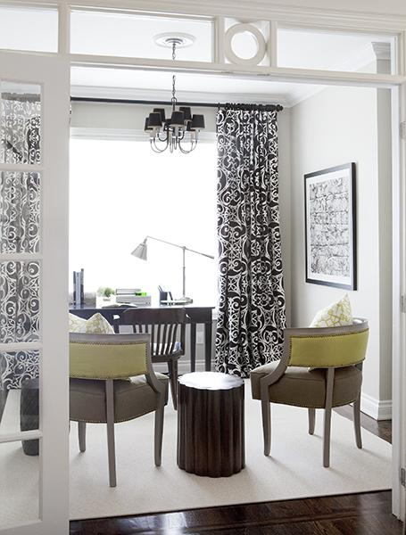 Black And White Curtains Contemporary Den Library