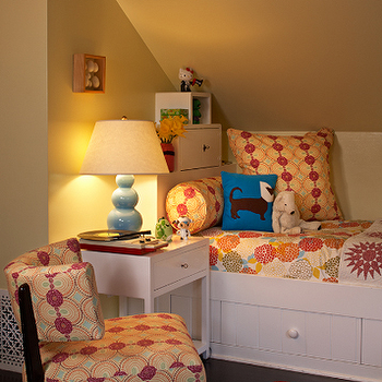 Kristen Panitch Interiors - girl's rooms - bed under sloped ceiling, built in bed, triple gourd lamp, blue triple gourd lamp, red zebra rug,