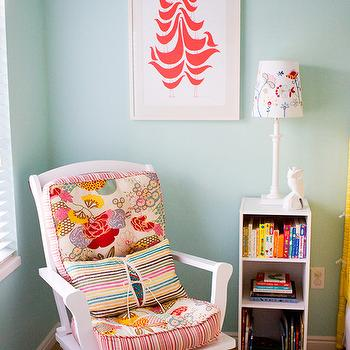 Apartment Therapy - nurseries - rocker, nursery rocker, red and turquoise nursery, Good Shape Design Flock Print,  Norah's Nursery - Adorable