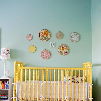 Apartment Therapy - nurseries - yellow crib, yellow nursery crib, jenny lind crib, yellow jenny lind crib, turquoise walls,  Norah's Nursery