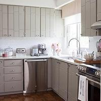 Samantha Pynn - kitchens - gray, kitchen, cabinets, white, subway, tiles, backsplash, schoolhouse pendant, chrome, fixtures, parquet, wood, floors, gray, walls, paint, color, stainless steel, appliances, roller shade, cutting board, kitchen, accessories, gray kitchen cabinets, modern gray kitchen cabinets,