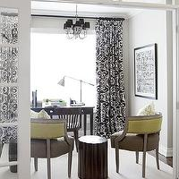 Samantha Pynn - dens/libraries/offices - white, black, drapes, black, chandelier, taupe, brown, gray, cintrine, yellow, green silk, upholstered, chairs, rustic, wood, stool, table, espresso, chair, desk, transom, glass, windows, ivory rug, pharmacy chrome table lamp, art, den, office, black and white curtains, black and white drapes, black and white window panels, black and white drapery,