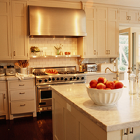 Kristen Panitch Interiors - kitchens - ivory, cream, kitchen, cabinets, white, carrara, marble, countertops, white, subway, tiles, backsplash, barrel range hood, cream cabinets, cream kitchen cabinets, cream shaker cabinets, cream shaker kitchen cabinets,