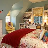 Kristen Panitch Interiors - girl's rooms - blue, walls, paint color, white, red, bedding, silk, gold, roman shades, yellow, tufted, chair, ottoman, desk, bookshelves, striped, rug,