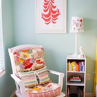 Apartment Therapy - nurseries - white, rocking chair, pink, turquoise, blue cushions, bookcase, turquoise, blue, walls, paint, color, nursery, Good Shape Design Flock Print,
