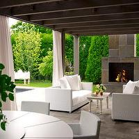 House Beautiful - decks/patios - pergola, pergola ideas, outdoor fireplace,  Outdoor living space and covered deck patio! white outdoor sofas,