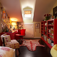 Kristen Panitch Interiors - girl's rooms - Jonathan Adler, red, zebra, rug, Eames, aluminum, chair, red, desk, red, bookcases, red, gold, silk, roman shade, yellow, bean bag, yellow, walls, paint, color, girl's attic bedroom, jonathan adler rugs, zebra rugs, red zebra rug,