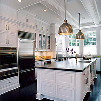 Alisberg Parker Architects - kitchens - industrial pendants, industrial pendants kitchen, industrial kitchen pendants, kitchen island pendants, industrial island pendants, industrial kitchen island pendants, white kitchen cabinets with black countertops, white kitchen cabinets with black wood floors, white kitchen cabinets with black hardwood floors, Yoke Pendant,