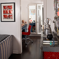 Kristen Panitch Interiors - boy's rooms - Eames, aluminum, red, chair, blue, desk, mirrored, closet, doors, blue, gray, striped, bed,  Red &