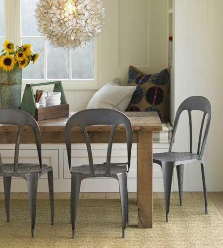 dining rooms - Eco Bistro Chair, Lotus Flower Chandelier, built in banquette, dining banquette, metal dining chairs, lotus flower chandelier, rustic dining table,