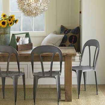 dining rooms - built in banquette, dining banquette, metal dining chairs, lotus flower chandelier, rustic dining table, Eco Bistro Chair, Lotus Flower Chandelier,