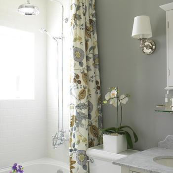 Gray Bathroom, Cottage, bathroom, Farrow & Ball Lamp Room Gray, Margot Austin