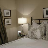 bedrooms - bedding, lamps, chocolate, brown, silk, drapes, lamp. iron, bed,  Bedroom  Chocolate brown silk drapes