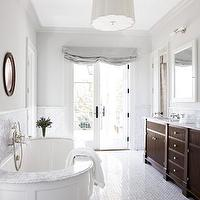 James Michael Howard - bathrooms - white carrara, marble, basketweave, tiles, countertops, backsplash, espresso, stained, bathroom, double, vanity, gray, silk, roman shades, white, mirror, gray, walls, paint, color, chic, elegant, bathroom, Scallop Pendant,