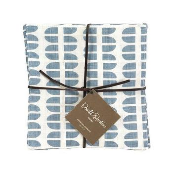 Decor/Accessories - DwellStudio | Woodblock Lake Cocktail Napkins (set of 4) - Cocktail Napkins - HOME - napkins