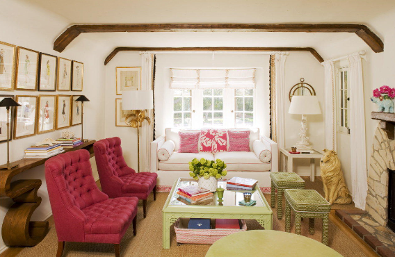 Hot Pink Tufted Chairs Eclectic Living Room Krista Ewart Design