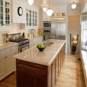 Philip Mitchell Design - kitchens - schoolhouse pendants, two tone kitchen, cream countertops, cream counters, long kitchen island, kitchen window seat, dual sink, dual kitchen sink, beadboard backsplash, kitchen beadboard, kitchen beadboard backsplash, Schoolhouse Pendant,