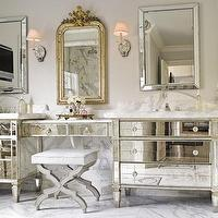bathrooms - gold leaf, mirror, gray, stool, beveled, mirrors, mirrored, bathroom, vanities, chrome, sconces, calcutta, marble, countertops, backsplash, floors, mirrored bathroom vanity,