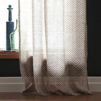 Window Treatments - Chevron Printed Window Panel | west elm - chevron, drapes, herringbone