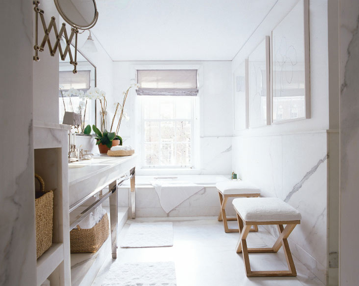 Timothy Whealon Interiors - bathrooms - white, marble, tiles, floors, backsplash, countertops, polished chrome, bathroom, vanity, base, gray, silk, shades, silver, mirror, wood, stool, bench, baskets,